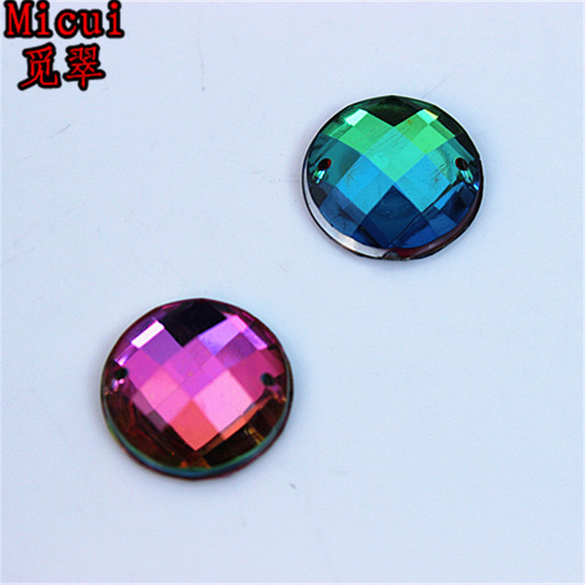 Micui 100pcs 16mm Rainbow Color Round Acrylic crystal Rhinestones Beads For Sewing Wedding Bags Stones Accessores Sew on ZZ370C