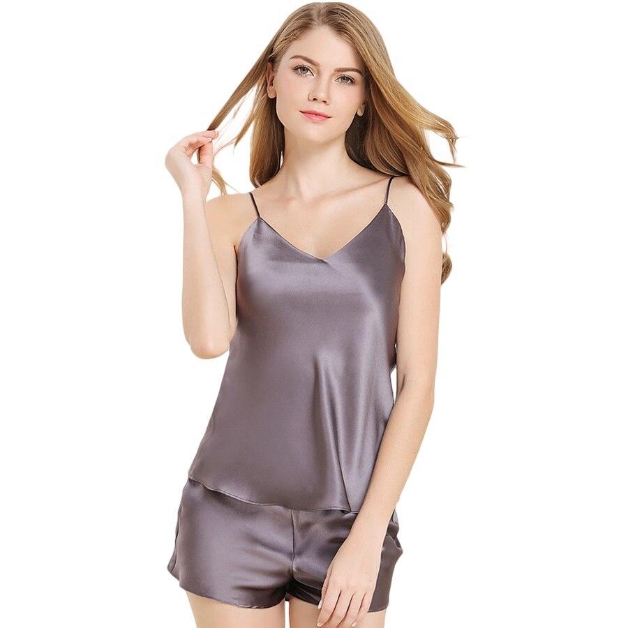 100% de Haute Qualité En Satin de Soie Pyjama Femmes Définit Couleur Unie Chemises Glissement de Nuit Pyjamas avec Pantalon Court sp0084