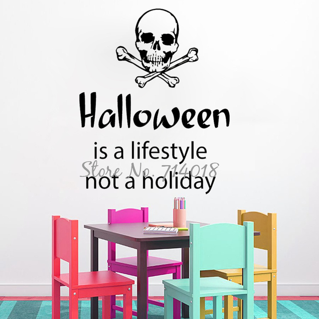 Skull Wall Decals Quote Halloween Is A Lifestyle Not A Holiday Vinyl Decal  Sticker Home Decor