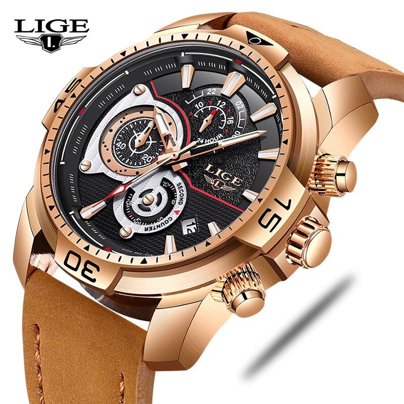 2018 LIGE New Watch Men Fashion Leather Quartz Clock Mens Watches Top Brand Luxury Waterproof Sport Wristwatch Relogio Masculino цена