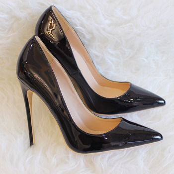 2019 Fashion free shipping women lady Black patent leather Poined Toe Stiletto high heel pump HIGH-HEELED SHOES Wedding Shoes