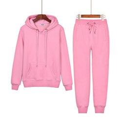 Conjunto de ropa de dos piezas para mujer, chándal de otoño, sudadera con capucha de retales, pantalón largo, conjunto de jogging, ropa deportiva para mujer T111