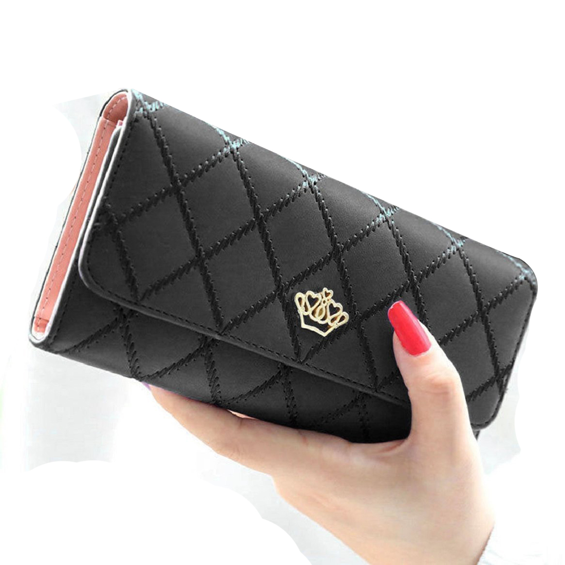 Fashion and New Women Lady Long Clutch Purse Bags Leather Bag Card Holder Wallet Black