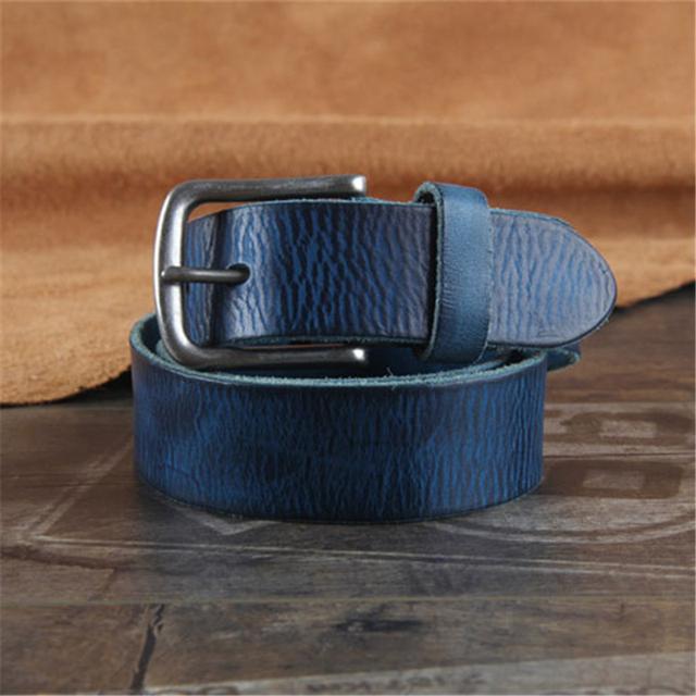Vintage Cinturón Hebilla de Cuero Genuino Correa de Los Hombres Ceinture Homme Cinturones Hombre Pantalones Vaqueros de Calidad Superior Azul Correa Ancha WMBT0443