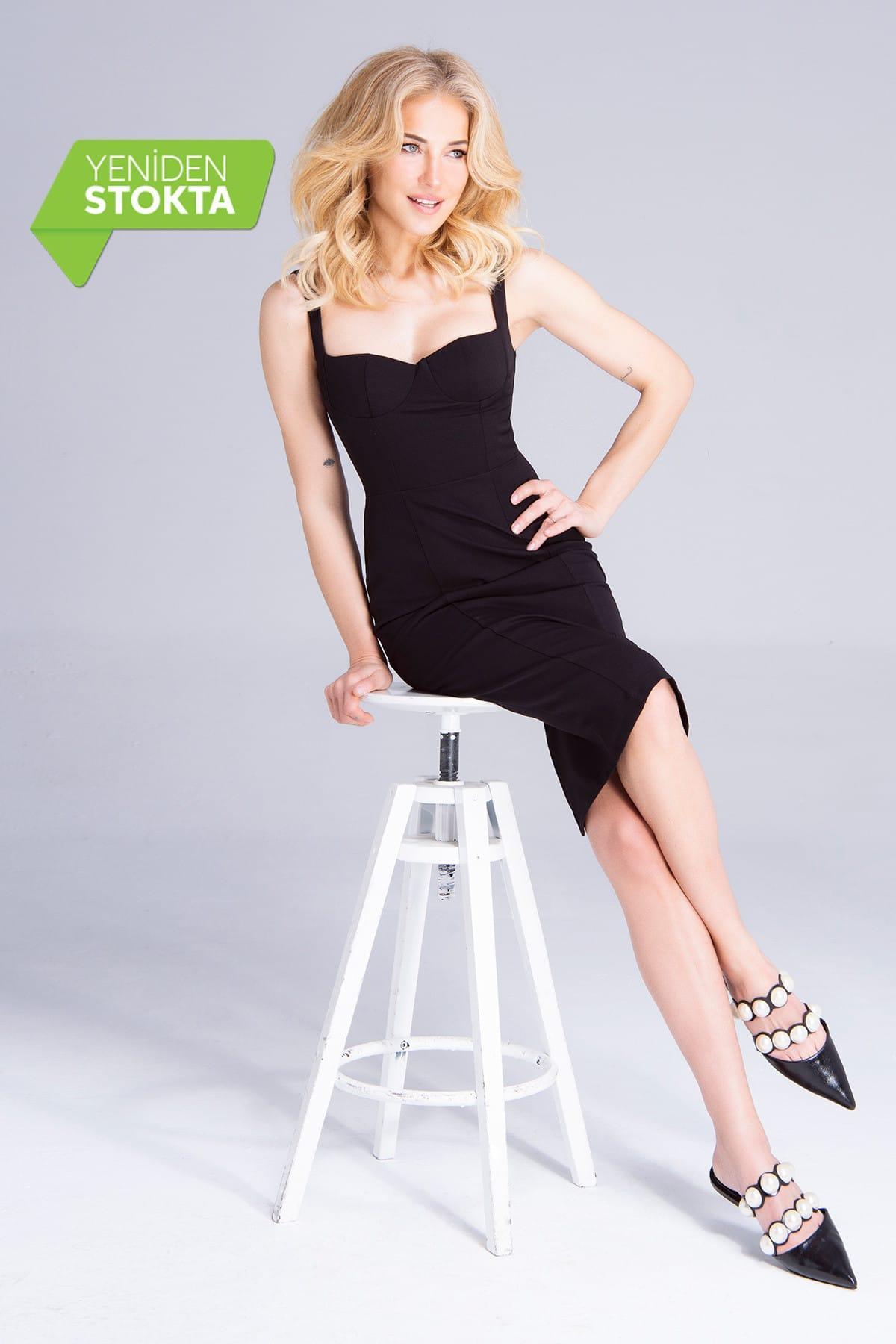 Trendyol Black Collar Low-Cut Dress TPRAW19FZ0242()