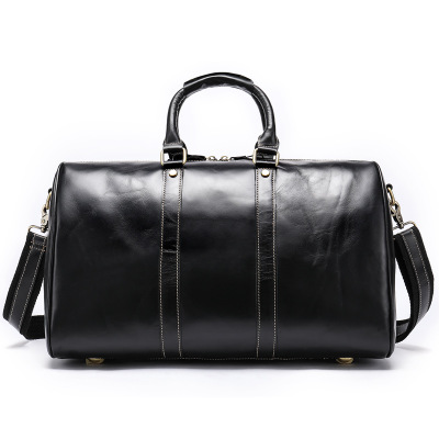 Luggage-Bag Crazy-Horse-Leather Large-Capacity Portable Retro Men Men's
