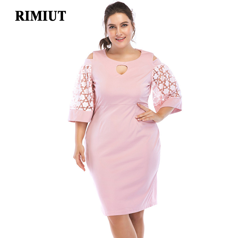 Rimiut 5XL 6XL Women Dress Big Size Hollow Out Dresses Flower Lace Short Elegant Pink Style Party Plus XL-6XL