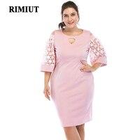 Rimiut 5XL 6XL Women Dress Big Size Hollow Out Dresses Flower Lace Short Dress Elegant Pink Style Party Dress Plus Size XL 6XL