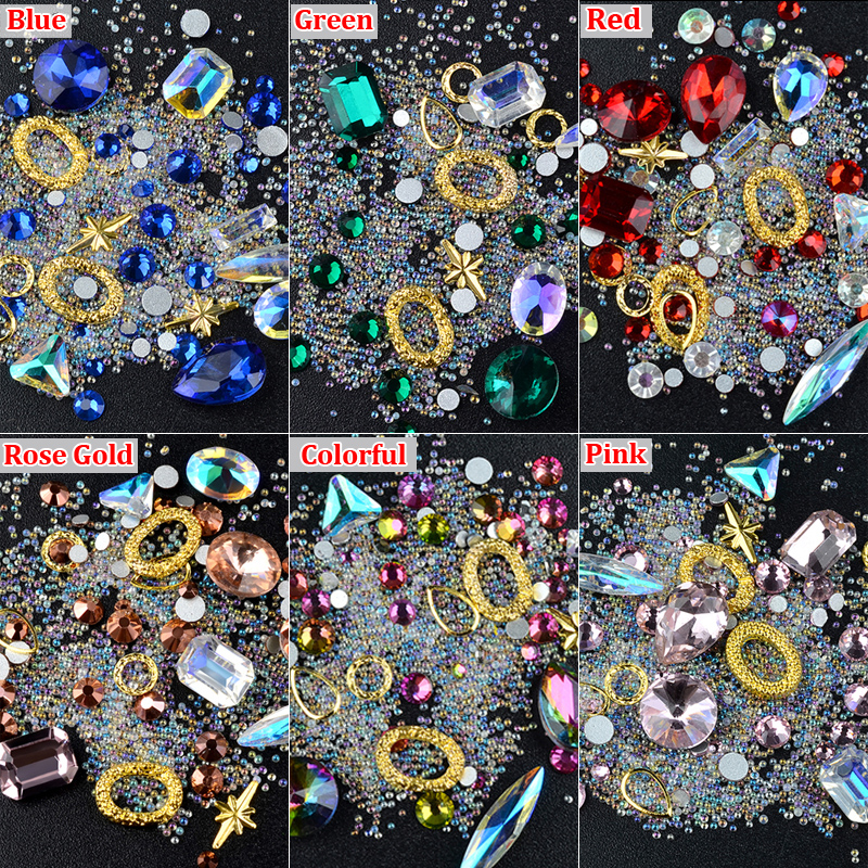 Фото 1 Box Crystal AB Nail Art Rhinestones Mixed Designs Caviar Beads Jewelry Gold Metal Decorations DIY Charm Manicure Accessories