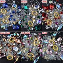 1 Box Crystal AB Nail Art Rhinestones Mixed Designs Caviar Beads Jewelry Gold Metal Decorations DIY Charm Manicure Accessories