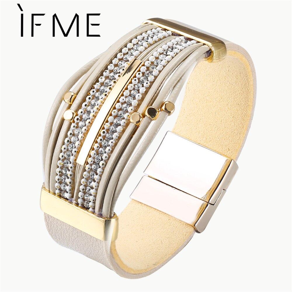 Angemessen Wenn Mich Bohemian Multilayer Charms Leder Armbänder & Armreifen Für Frauen Boho Kristall Weibliche Perlen Armband Pulsera Mujer Schmuck GroßEr Ausverkauf