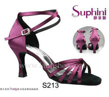 Free Shipping 2015 Suphini Purple Latin Shoes, Satin Salsa Shoe, Woman Dance Shoes, zapatos de baile