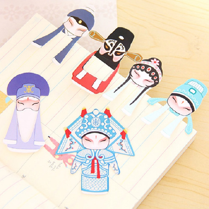 Chinese Traditional Culture Bookmarks Classical Beijing Opera Paper Clip Memo Mini Peking Opera Book Mark For Kids School Gifts