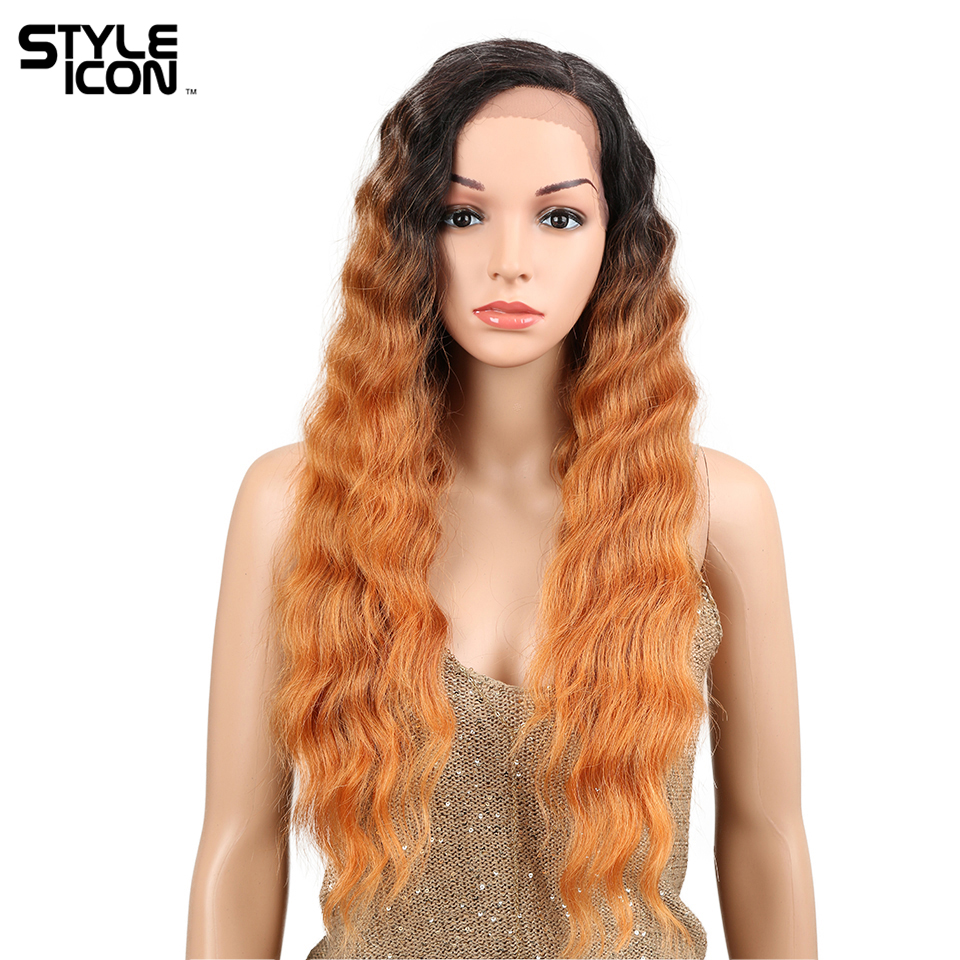 Styleicon Womens One Piece Lace Front Wig 28 Inch Long Deep Wave Red African American Synthetic Lace Front Wig For Women