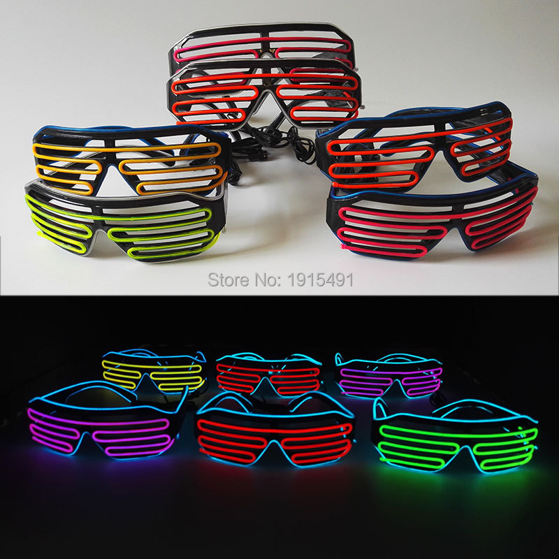 Stage Design Gorgeous Led Bulbs Light Up Flashing Glasses Colorful Wedding Accessories EL Cable Rope Christmas Eyewear by DC3V