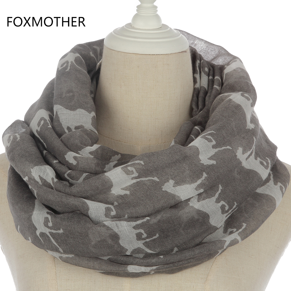 FOXMOTHER 2018 New Women Fashion Black Grey Navy Color Animal Horse Shawl Scarf Ring Scarves Mother Gifts