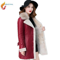 Sheepskin Coat Women 2018Winter Leather Jacket Female Black Wine Shearling Coat Fur Collar Warm Leather Jacket
