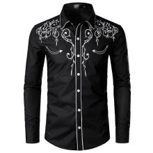 Men's Casual Floral Shirt Fashion Embroidered Blouse Long sleeves Denim Mens Dress Shirts Red Black купить недорого в Москве