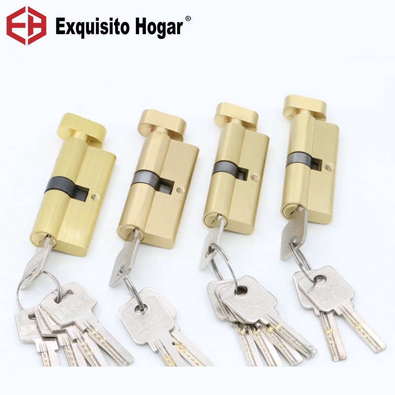 Door Hardware Security 70 75MM Gold Cylinder  Interior Room Door Lock Tongue Pressure Lock Handle Lock Key Brass Copper Lock