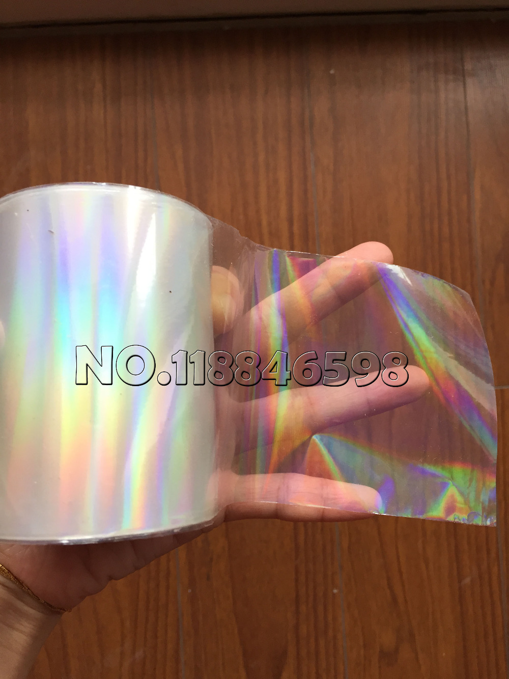 Tool Parts New Style Holographic Foil Plain Transparent Foil Hot Stamping On Paper or Plastic 8cm x 120m//Lot DIY Package Box Color: transaparent