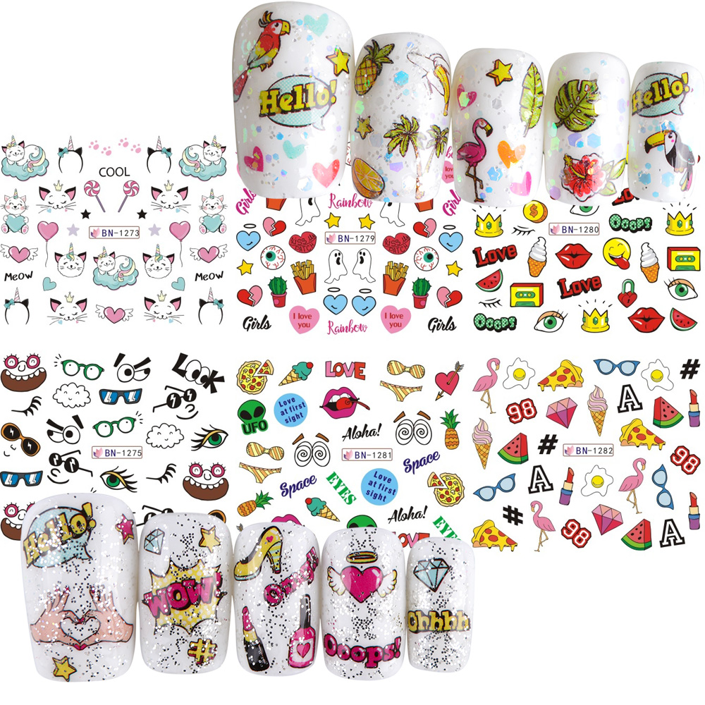 12 Designs Summer Nail Water Transfer Stickers Cactus Flamingo Heart Leaf Tattoo Decals Nail Art Decoration Slider 3