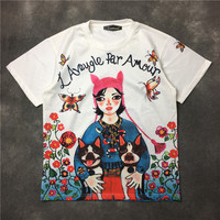 Women summer cartoon print Tee shirts Fashion women's floral print Tops Tees Chic casual sweet T shirt Tops U427