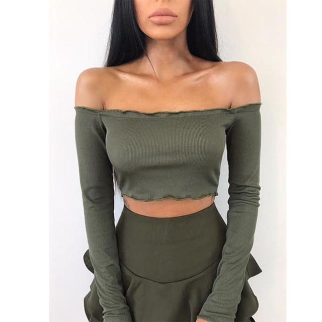 258433e70c6ba 2017 Long Sleeve T-shirt Sexy Off Shoulder Party Crop Top Summer Beach Women  Tops Lady Short Tank