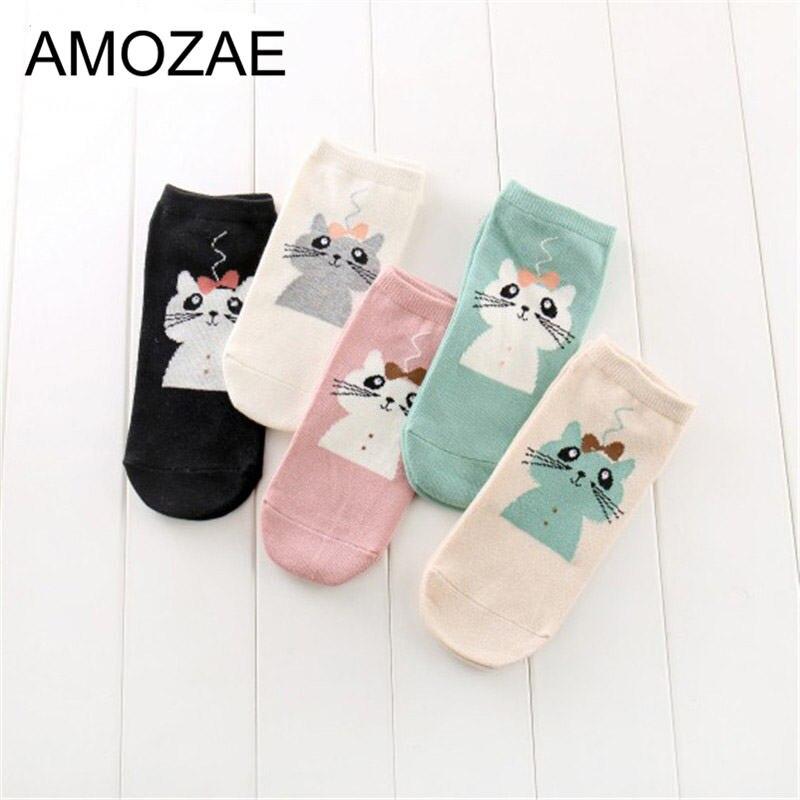 Women Cotton Socks Stereoscopic Cute Animal Female Kawaii Cat Summer Short Socks Slippers Women Casual Soft Funny Boat Socks