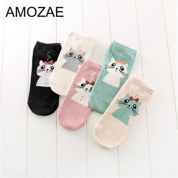 Women Cotton Socks Stereoscopic Cute Animal Female Kawaii Cat Summer Short Slippers Casual Soft Funny Boat