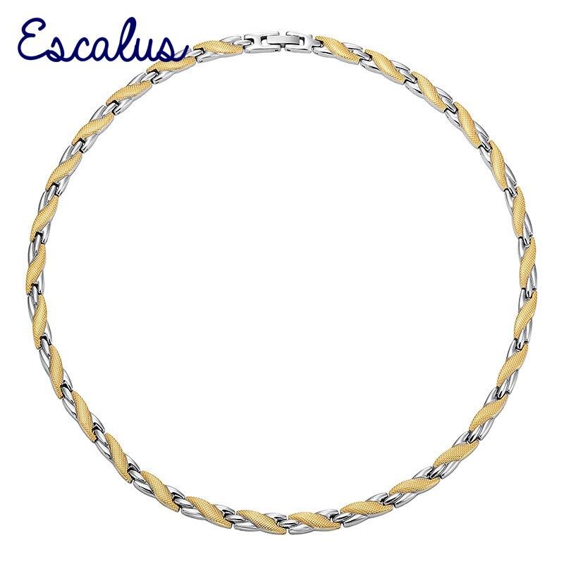 a65391c629f8 Escalus amante joyería de moda collar de acero inoxidable para las mujeres  2 tonos de colores magnética collares oro plata Color corbatas