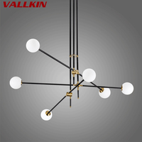 Minimalist Magic Bean Glass Chandelier Light LED G4 Geometric Line Brass Dining Living Room Metal Chandeliers Lamps Hanging Lamp