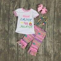 New baby Ester day pulcino uovo hunter outfit ragazze di ESTATE/PRIMAVERA abbigliamento maniche corte Aztec ruffle outfit con accessori bambini