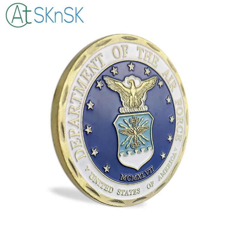 Venta al por mayor, 50/100 Uds., Departamento de artesanía de Metal de la Fuerza Aérea, moneda de desafío, Souvenirs conmemorativos de la USAF, moneda coleccionable - 5