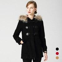 BURDULLY 2018 New Arrival Fur Collar Woolen Coat Wool Windbreaker Women Black Coat Winter Jacket Female Fashion Free Ship