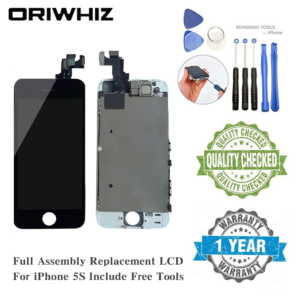 AAA+ For iPhone 5s Screen Replacement LCD Display Touch Screen With Digitizer Frame Assembly Proximity Sensor Earpiece Front Cam