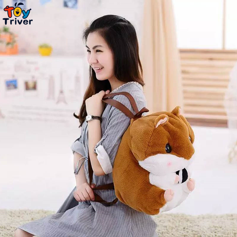 48cm kawaii stuffed plush hamster bag packsack backpack toy doll baby girl boy birthday gift creative cartoon Des hamsters