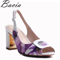 Bacia Full Grain Leather Sandals 2018 New High Thick Heels Pumps Genuine Leather Spring Summer Buckle