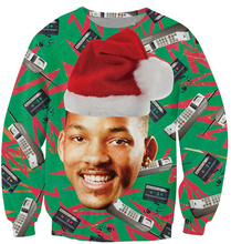 Фотография Causal  Sweatshirt Fresh Prince Christmas Crewneck Jumper Will Smith With Christmas hat Outerwear Women Men Plus Size 5XL