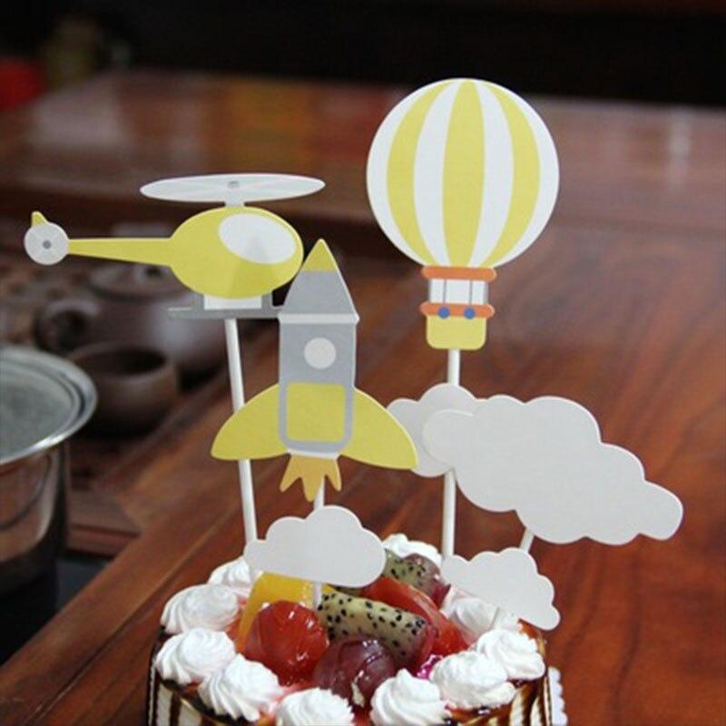 4PCS Airplane Cloud Hot Air Balloon Cake Topper For ...
