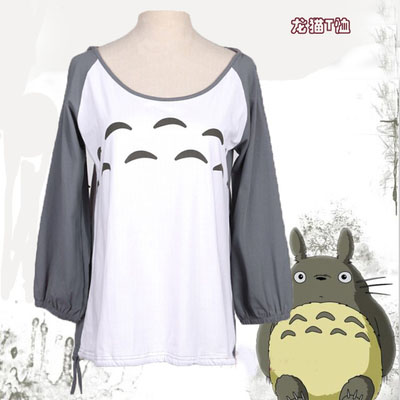 Totoro long sleeved T-shirt Anime Cute Girl Lady Clothes Fashion Miyazaki Hayao Hooded Tops