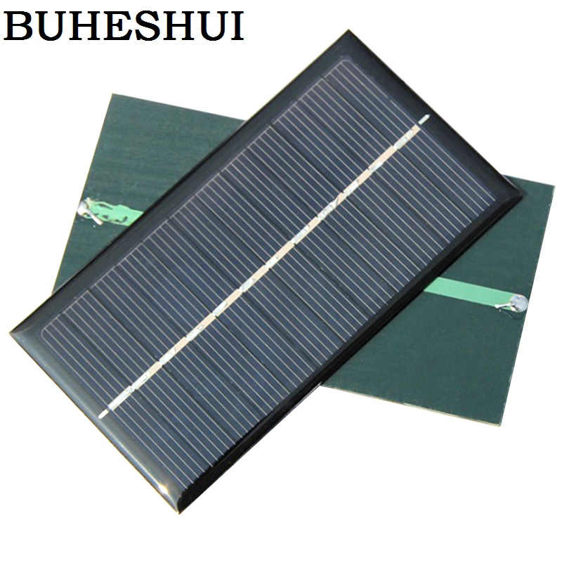 BUHESHUI 1W 6V Polycrystalline Solar Panels For 3.7V Battery Charge Solar Led Light Solar Cell <font><b>110*60</b></font> *3MM 3pcs Free shipping image