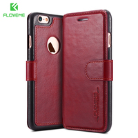 Floveme I6 6S Plus Logo Hole Vintage Genuine Leather Case For Apple IPhone 6 6S For
