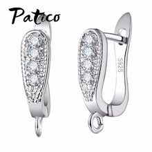 Trendy 925 Sterling Silver Earring Cubic Zirconia Crystal Stone U-Shape Earrings Jewelry Finding Handmade Brincos Ear(China)