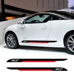 2 Stuks Auto Deur Side Rok Strepen Stickers Auto Diy Vinyl Film Decals Automobiles Voor Peugeot Rcz Styling Tuning Auto accessoires