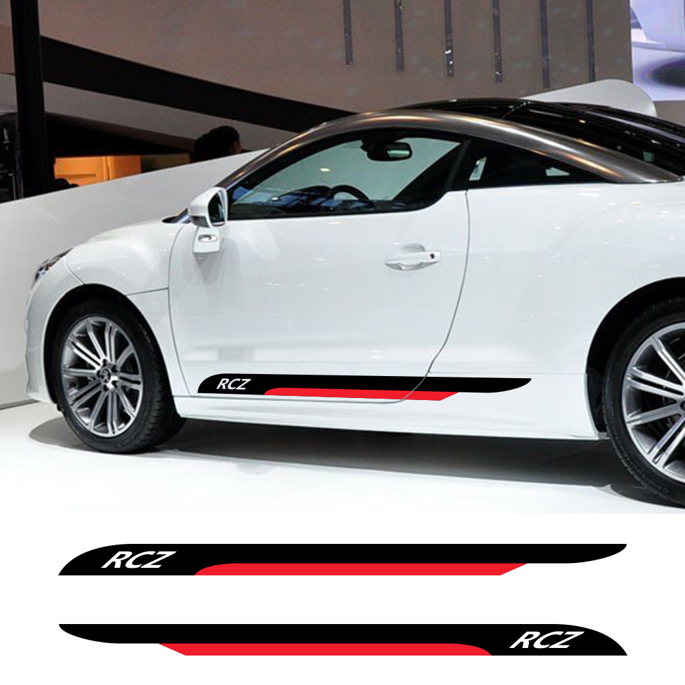 2pcs Car Door Side Skirt Stripes Stickers Auto DIY Vinyl Film Decals Automobiles For PEUGEOT RCZ Styling Tuning Car Accessories