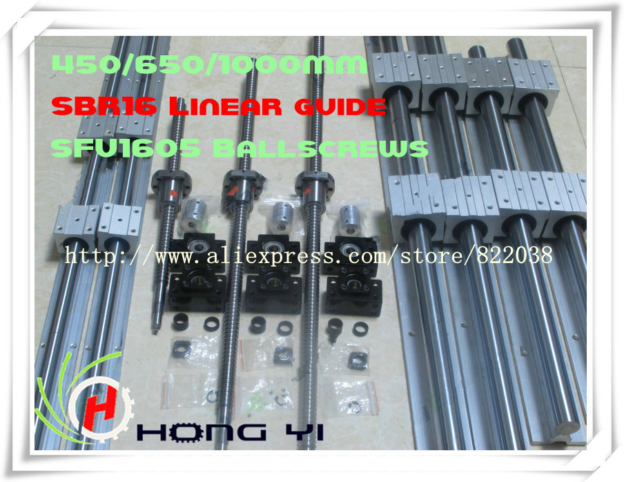 2 X SBR16 -400/600/1000mm Linear rail support sets+3 ballscrews RM1605 +3 BK12 BF12 Ball screw Support +3 couplering for CNC 2 x sbr20 300 600 1000mm linear rail support sets 3 ballscrews rm1605 3 bk bf12 3 coupling