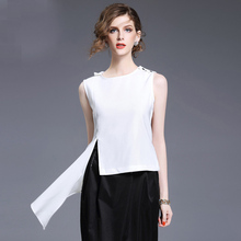 Personality Irregular Women White Chiffon Short Design Tank Top 2017 Summer Ladies New Clothing