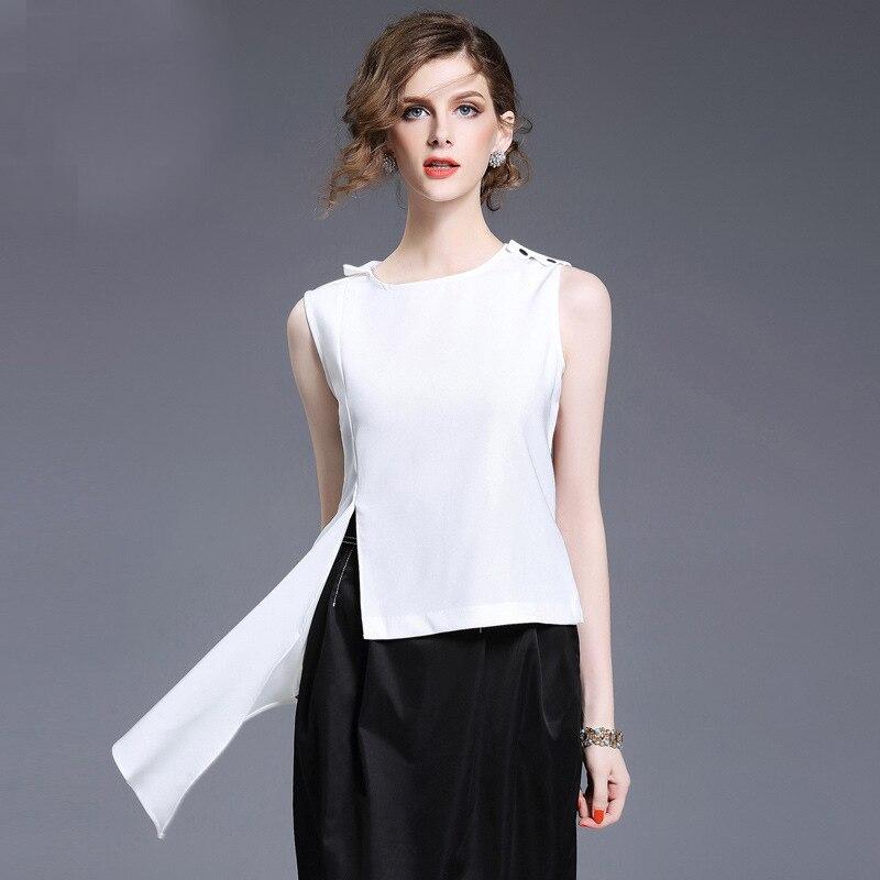 Personality Irregular font b Women b font White Chiffon Short Design Tank Top 2017 Summer Ladies