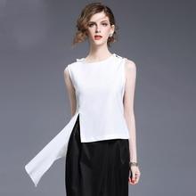 Personalidade irregular mulheres branco chiffon curto design parte superior do tanque de verão 2017 senhoras novas clothing