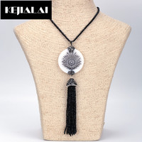 KEJIALAI Pearl Shell Round Shape Pendant Necklace Crystal Glass Beads Long Tassel Necklace Boho Jewelry for Women Accessories